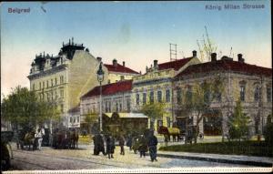 Ak Belgrad Beograd Serbien, König Milan Straße
