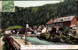 Ak Lauffen bei Bad Ischl in Oberösterreich, Flusspartie, Kirche, Wohnhäuser