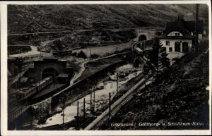 Ak Göschenen Kanton Uri, Gotthardbahn, Schöllenenbahn, Tunnel