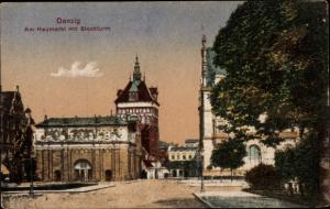 Ak Gdańsk Danzig, Heumarkt, Stockturm