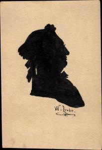 Scherenschnitt Ak Portrait eines Mannes, W. Leube