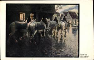 Künstler Ak Herdtle, Heimkehr, Pferde, Ortschaft
