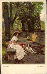 Künstler Ak Niezky, Eduard, Im Park, Hund, Frau