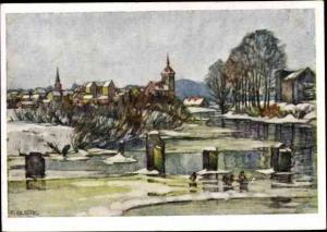 Künstler Ak Albitz, R., Gołdap Ostpreußen, Winter, Panorama vom Ort