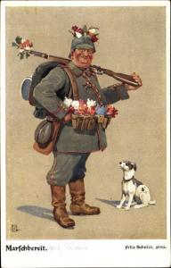 Künstler Ak Schulze, Felix, Marschbereit, Soldat in Uniform, Hund