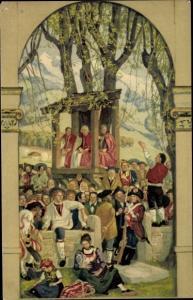 Ganzsachen Ak Schweizer Bundesfeier 1918, Priester, Kanzel, Soldaten, Schweizer Tracht