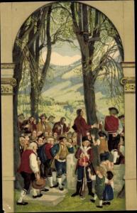 Ganzsachen Ak Schweizer Bundesfeier 1918, Versammlung, Soldat, Schweizer Tracht