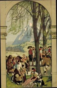 Ganzsachen Ak Schweizer Bundesfeier 1918, Versammlung, Schweizer Tracht