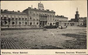 Ak Warszawa Warschau Polen, Wiener Bahnhof, Dworzec Wiedenski