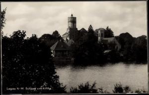 Ak Łagów Powiat Świebodziński Lagow Neumark Ostbrandenburg, Schloss, Kirche