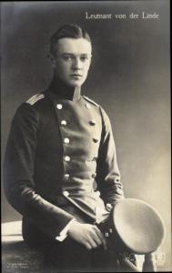 Ak Leutnant Otto von der Linde, Portrait, Uniform