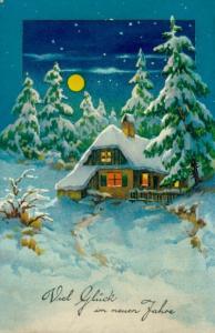 Ak Glückwunsch Neujahr, Verschneites Haus bei Nacht
