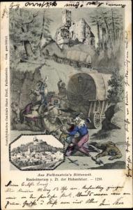 Künstler Ak Falkenstein Ludwigsstadt Kreis Kronach Oberfranken, Raubrittertum z. Zt. der Hohenfelser