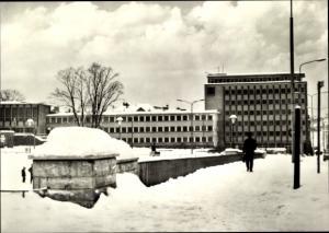Ak Suhl in Thüringen, Haus der Gewerkschaften, Winterpartie