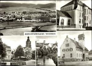 Ak Breitungen an der Werra, Gesamtansicht, Schule, Kirche, Schloss, Rathaus