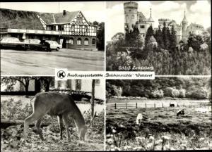 Ak Walldorf Thüringen, Schloss Landsberg, Hirsch, Ausflugsgaststätte Brückenmühle