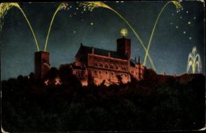 Ak Lutherstadt Eisenach in Thüringen, Wartburg, Beleuchtung
