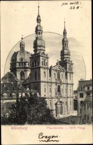 Ak Würzburg am Main Unterfranken, Pfarrkirche Stift Haug