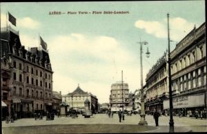 Ak Liège Lüttich Wallonien, Place Verte, Place Saint Lambert