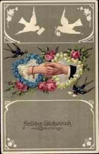 Präge Litho Glückwunsch Geburtstag, Männer und Frauenhand, Schwalben, Blumen, Herzen