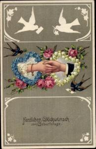 Präge Litho Glückwunsch Geburtstag, Herzen, Männer und Frauenhand, Schwalben