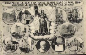 Ak Beatification de Jeanne d'Arc 1909, Papst Pius X., Reims, Domrémy, Paris, Orleans, Rouen