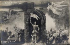 Künstler Ak Jeanne d'Arc, Engel, Patriotik