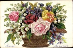 Präge Ak Glückwunsch Geburtstag, Heureux Anniversaire, Blumenkorb, Rosen, Maiglöckchen