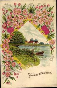 Präge Stoff Ak Souvenir affectueux, Flusslandschaft, Blüten