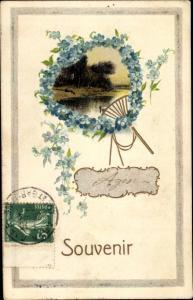 Passepartout Ak Souvenir, Fächer aus Vergissmeinnicht, Landschaftsmotiv