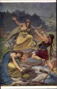 Künstler Ak Zenisek, Fr., Ales, M., Povest, Frau mit entblößter Brust, Amazone