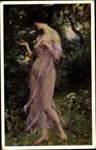 Künstler Ak Wobring, F., Morgentau, Frau in durchsichtigem Kleid