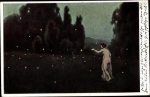 Künstler Ak Witting, Walther, Glühwürmchen, nackte Frau
