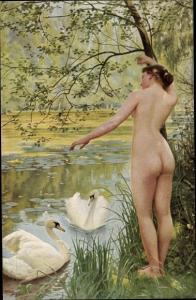 Künstler Ak Aublet, Albert, Am Schwanenteich, Frauenakt, Po
