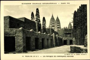 Ak Paris, Exposition Coloniale Internationale 1931, Palais de la AOF, Portiques des Commercants