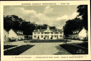 Ak Paris, Exposition Coloniale Internationale 1931, Etats Unis, Reproduction de Mount Vernon