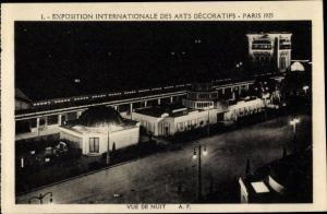 Ak Paris, Exposition Internationale des Arts Decoratifs 1925, Vue de Nuit