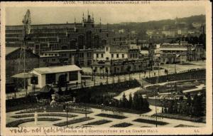 Ak Lyon Rhône, Exposition Internationale 1914, Jardins de l'Horticulture et le Grand Hall