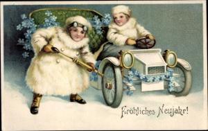 Litho Glückwunsch Neujahr, Reifen von Automobil wird aufgepumpt, Vergissmeinnichtblüten