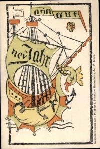 Künstler Ak Glückwunsch Neujahr, Primitive Holzschnitte des 15. Jh.,Entwicklungsgeschichte Bilddruck