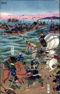 Künstler Ak Japan, Seegefecht, Kampf zwischen Samurais, Schwerter, Bogenschützen