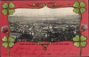 Passepartout Ak Zürich Stadt Schweiz, Stadtansicht mit Alpen von der Waid gesehen, Kleeblätter