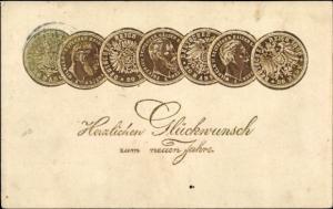 Präge Litho Glückwunsch Neujahr, Geld, Münzen, Mark