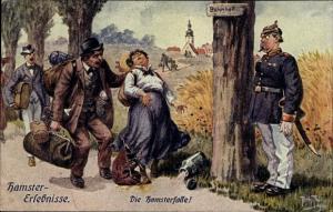 Künstler Ak Thiele, Arthur, Hamstererlebnisse, Die Hamsterfalle, Reisende