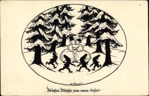 Scherenschnitt Ak Forck, Elsbeth, Glückwunsch Neujahr, Schneemänner, Zwerge