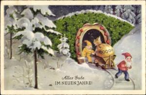 Ak Glückwunsch Neujahr, Zwerge, Geldsack, Bergwerk, Kleeblätter, Hufeisen