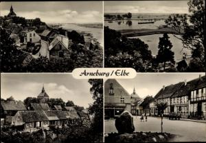 Ak Arneburg an der Elbe, Teilansicht, Textilwarengeschäft, Flusslandschaft