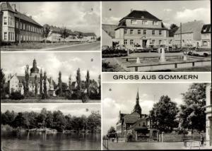 Ak Gommern Jerichower Land, Magdeburger Straße, Schloss, Am Edersee, Rathaus