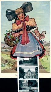 Leporello Litho Bückeburg im Kreis Schaumburg, Frau mit Tracht