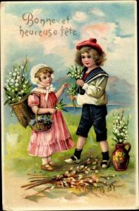 Ak Glückwunsch Geburtstag, Bonne et heureuse fete, Kinder mit Blumen, Maiglöckchen